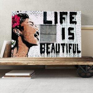 Banksy Life is Beautiful Graffiti Graphic Art on Canvas