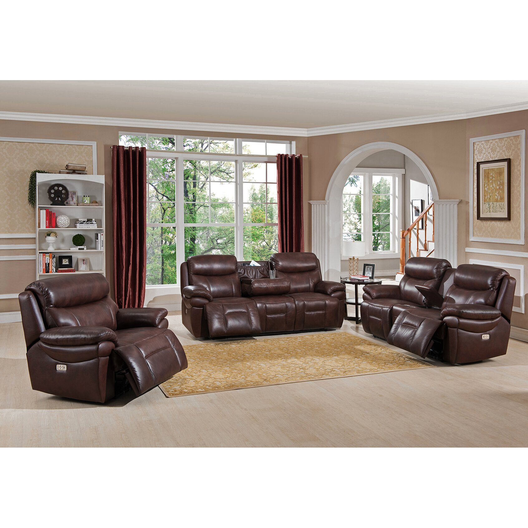 Amax sanford 3 piece leather power reclining living room for Wg r living room sets