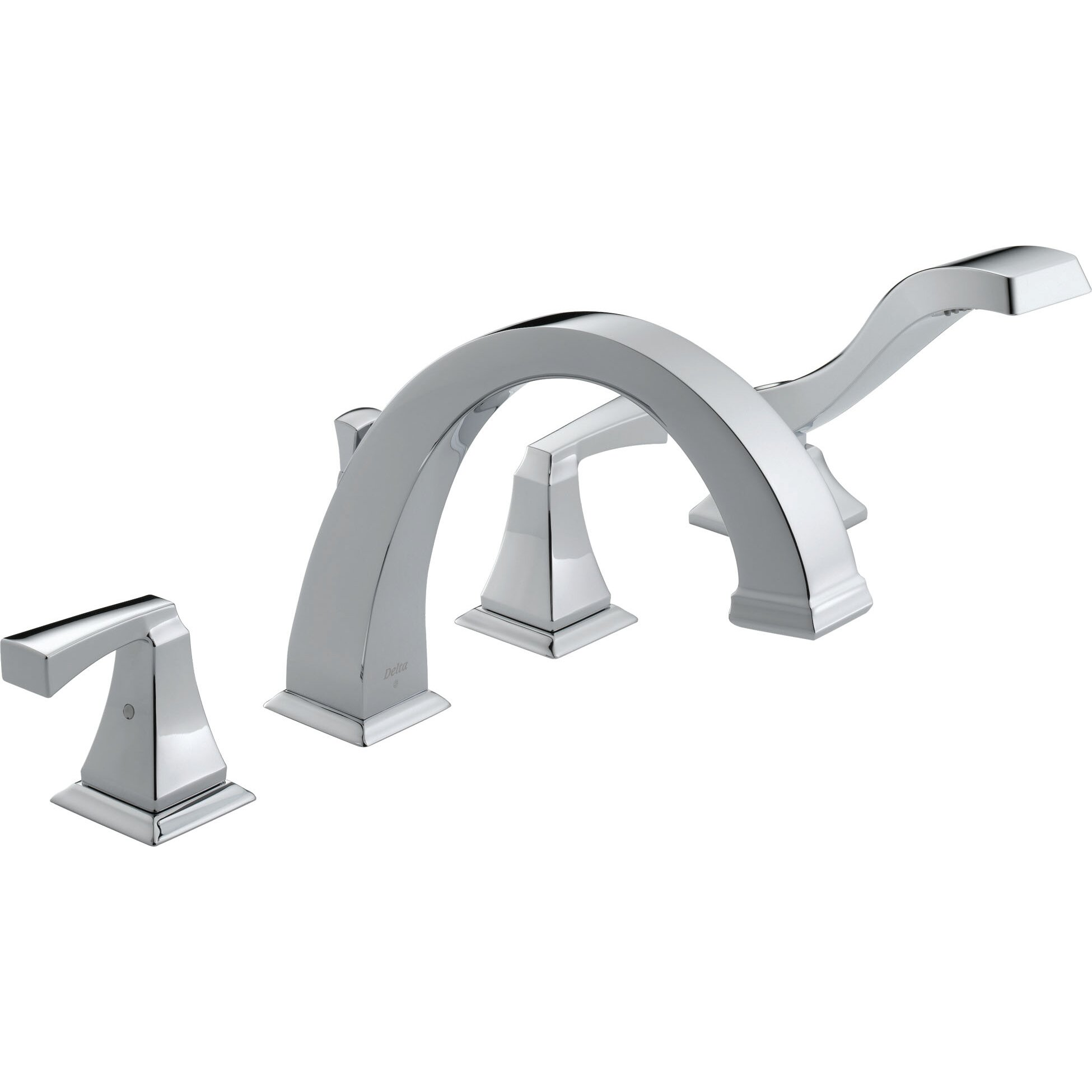Delta Dryden Roman Two Handle Deck Mount Tub Faucet Trim With Hand - Wall mount roman tub filler