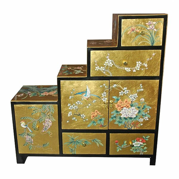 Oriental furniture chinese leaf step tansu cabinet wayfair for Tansu bathroom vanity