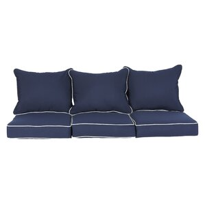 Ginsberg 6 Piece Indoor/Outdoor Sunbrella Piped Sofa Cushion Set