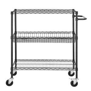 "Heavy Duty Commercial Grade Wire 45"" H Three Shelf Shelving Cart"