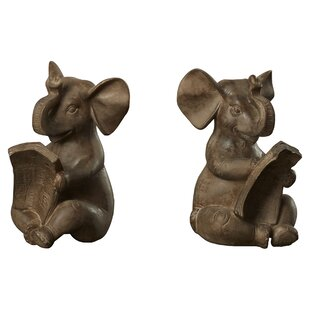 Brown Resin Elephant Bookends (Set Of 2)