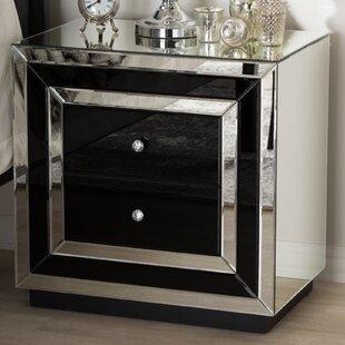 Kaplan Hollywood Regency Glamour Style Mirrored 2 Drawer Nightstand