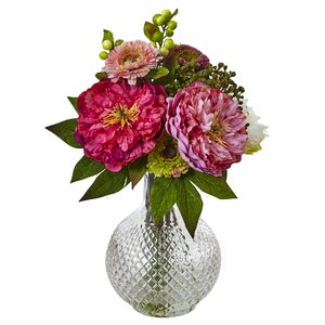 Peony/Mum Floral Arrangements in Decorative Vase