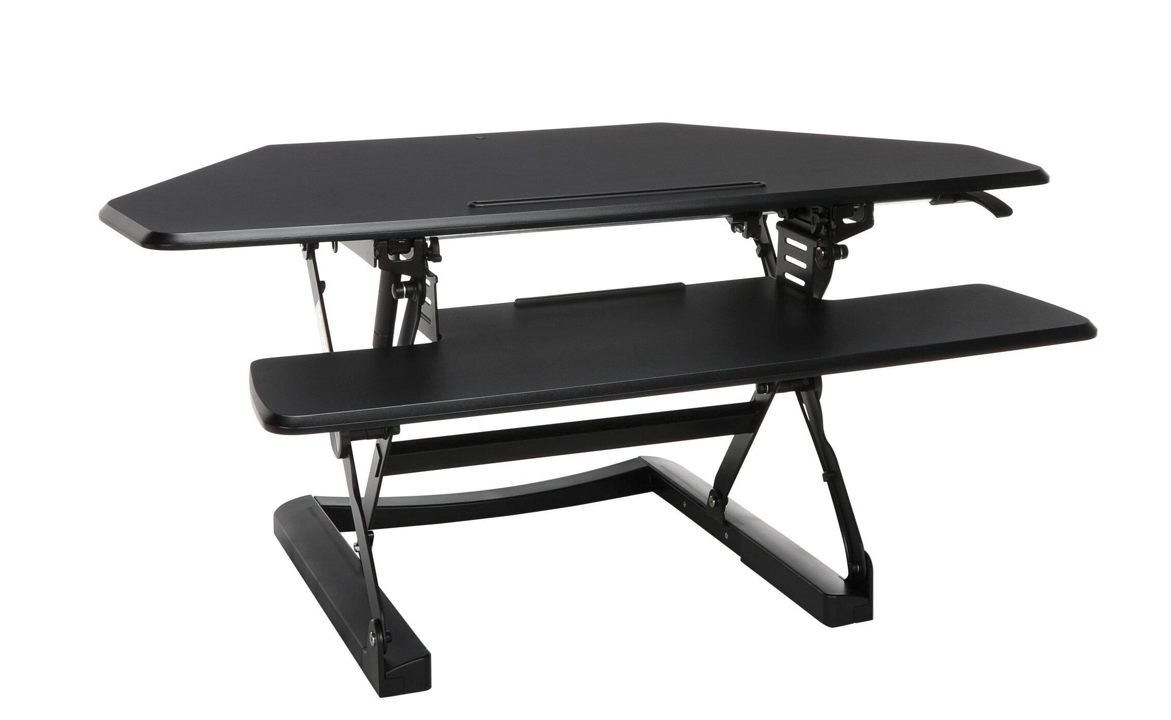Symple Stuff Heiman Riser Corner L Shaped Height Adjustable Standing Desk  Converter | Wayfair