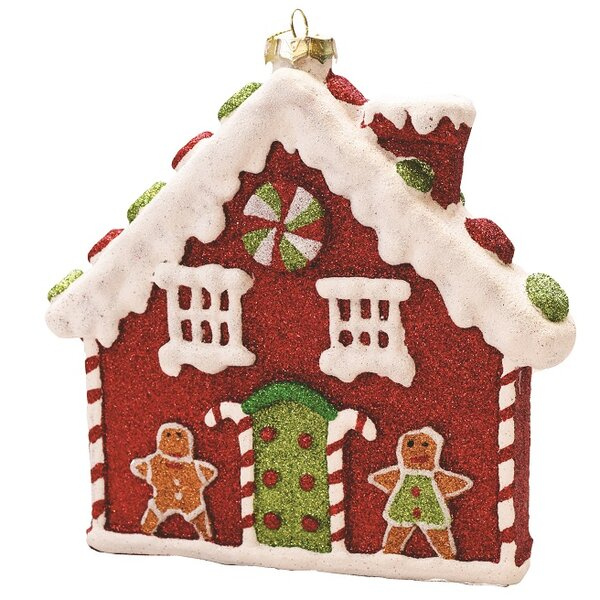 the holiday aisle merry and bright glitter shatterproof gingerbread house christmas ornament wayfair