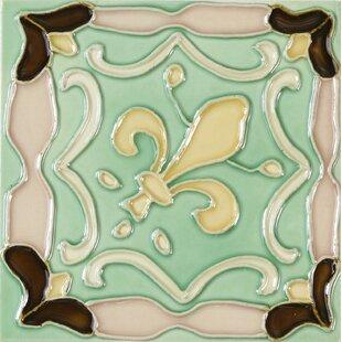 Hand Painted 6 X Ceramic Field Tile In Flur De Lis