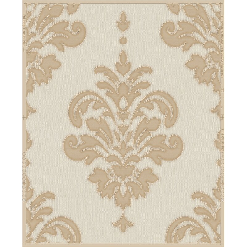 "Lark Manor Penniman 33' x 20"" Damask Wallpaper Roll"