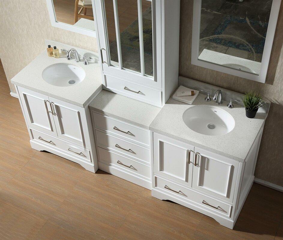 Geraldina 85 Quot Double Sink Bathroom Vanity With Mirror