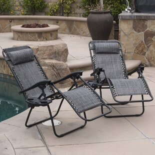 Affordable Price Winnett Folding Zero Gravity Chair with Cushion Set of 2 Zipcode Design