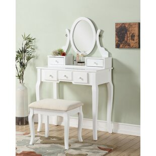 Lovely Courts Wood Makeup Vanity Set With Mirror