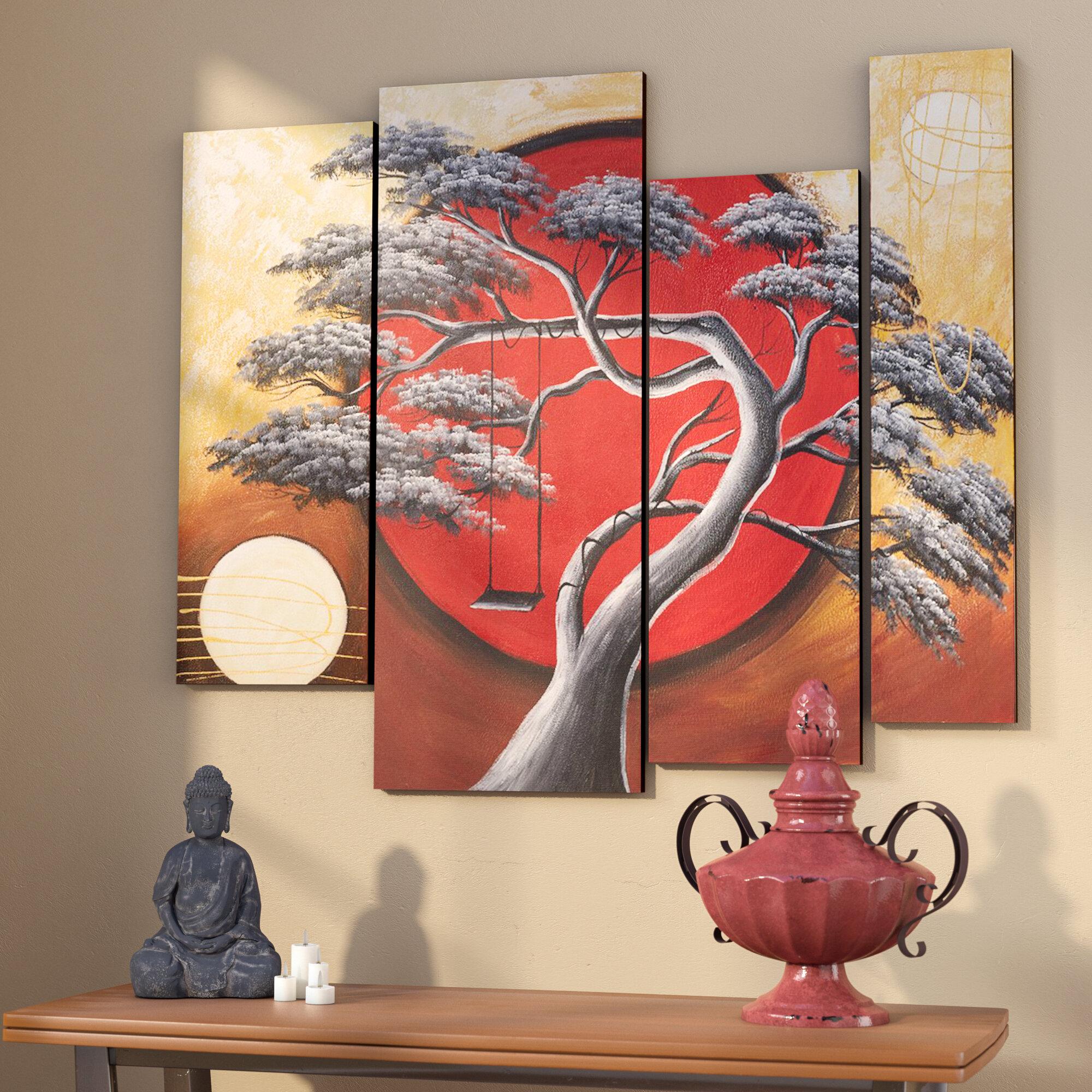 World Menagerie Crimson Sun Midnight Moon 4 Piece Framed Painting On