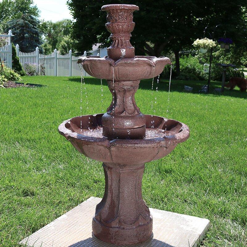 Fleur De Lis Living Maidste Fibergl Goblet 3 Tier Garden Water Fountain Wayfair