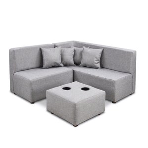 Duval Ash Kids Polyester Sectional and Ottoman with Cup Holder by Zoomie Kids