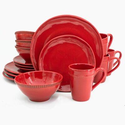 Euro Ceramica Al Garve 16 Piece Dinnerware Set, Service for 4  Color: Red