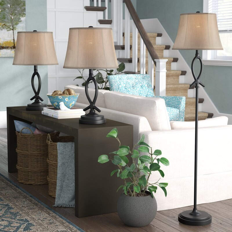 3 lamp set cardella piece table and floor lamp set red barrel studio