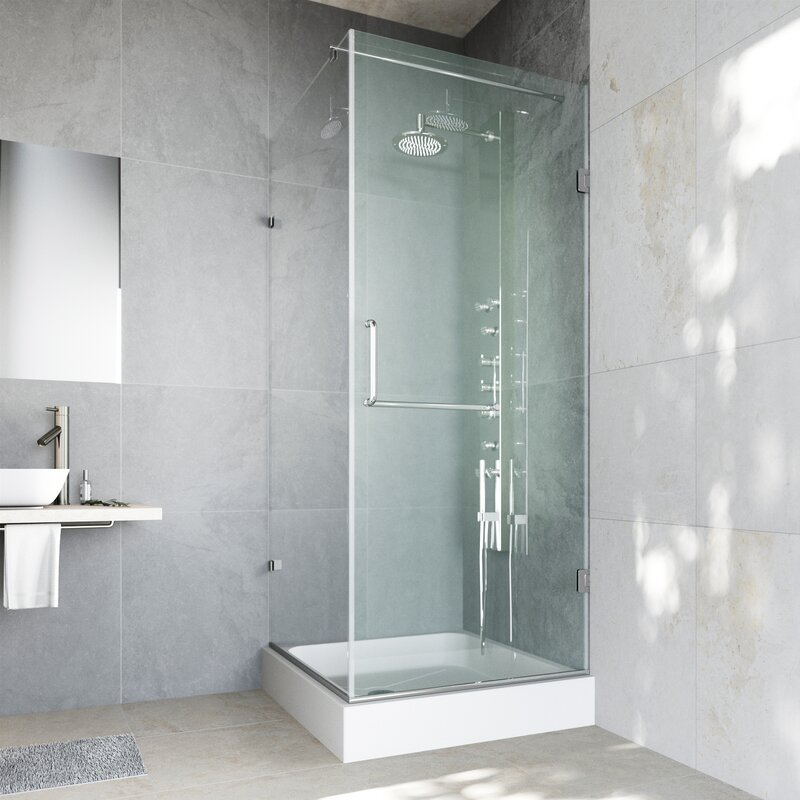 frameless shower enclosure with 375in vigo pacifica 36 x 48