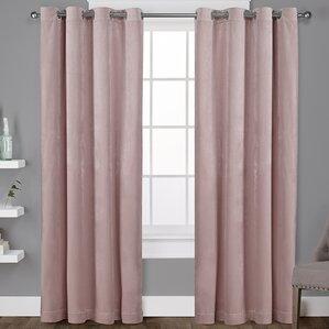 Rossum Velvet Top Solid Semi Sheer Grommet Curtain Panels Set Of 2