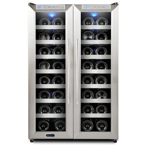 32 Bottle Dual Zone Freestanding Wine Cooler by Whynter