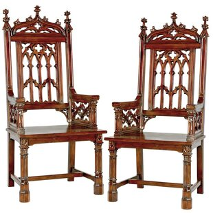 Gothic Tracery Cathedral Solid Wood Dining Chair (Set of 2)