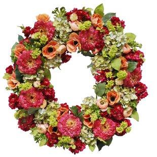 Pink floral wreath wayfair bright mix floral wreath in pinkpeach 26 wreath mightylinksfo