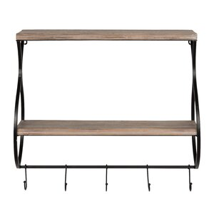 Cargin Wood and Metal Floating Wall Shelf
