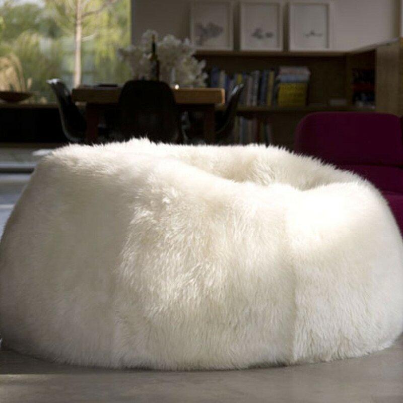 Pure Rugs Patagonia Sheepskin Bean Bag Chair Wayfair Extraordinary Sheepskin Pouf Bean Bag