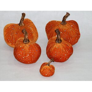 5 Piece Luscious Bling Sequins Accented Velvet Inflatable Pumpkin Set (Set of 2)