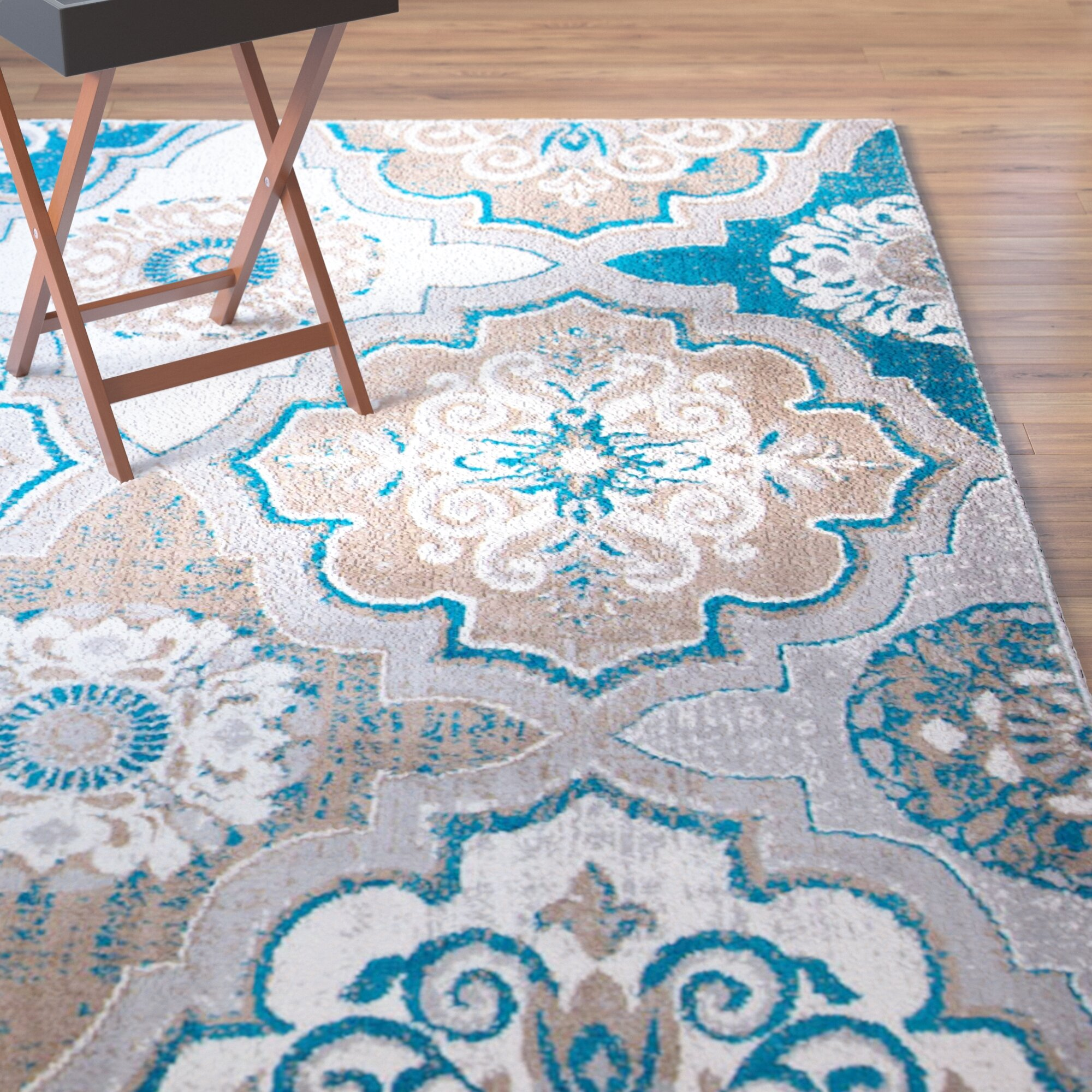 Winston Porter Albion Taupe/Bright Blue/Brown Area Rug & Reviews ...
