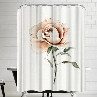 Single Peach Rose Shower Curtain