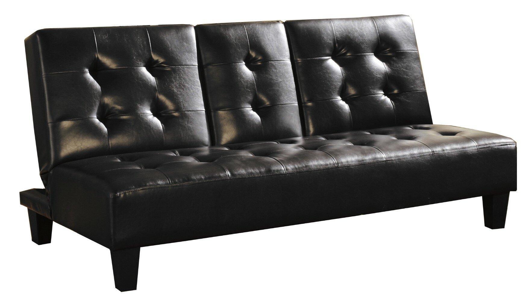 Ebern Designs Fish Faux Leather Upholstered Futon Convertible Sofa Wayfair