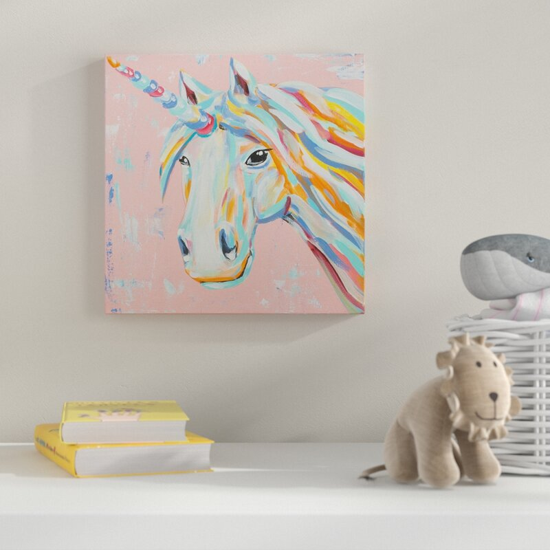 Imagine Dream Believe Unicorn Acrylic Painting Print On Wrapped Canvas