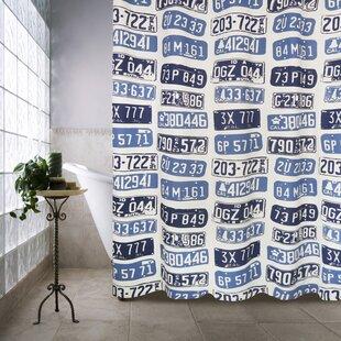 Metro Farmhouse Cotton License Plates Shower Curtain