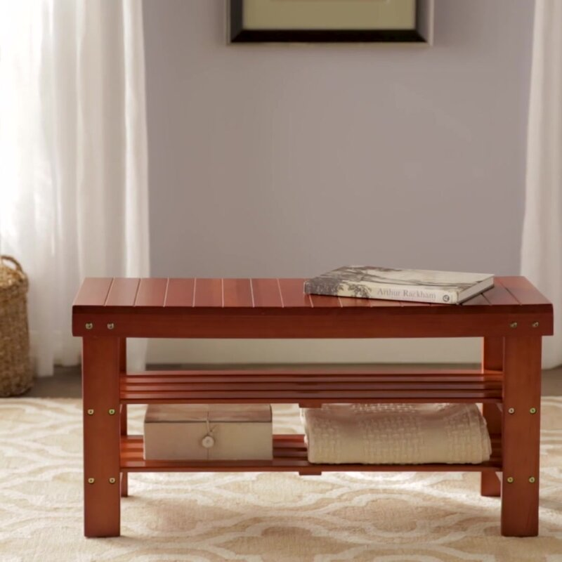 Andover Mills Theiss Wood Storage Bench & Reviews | Wayfair