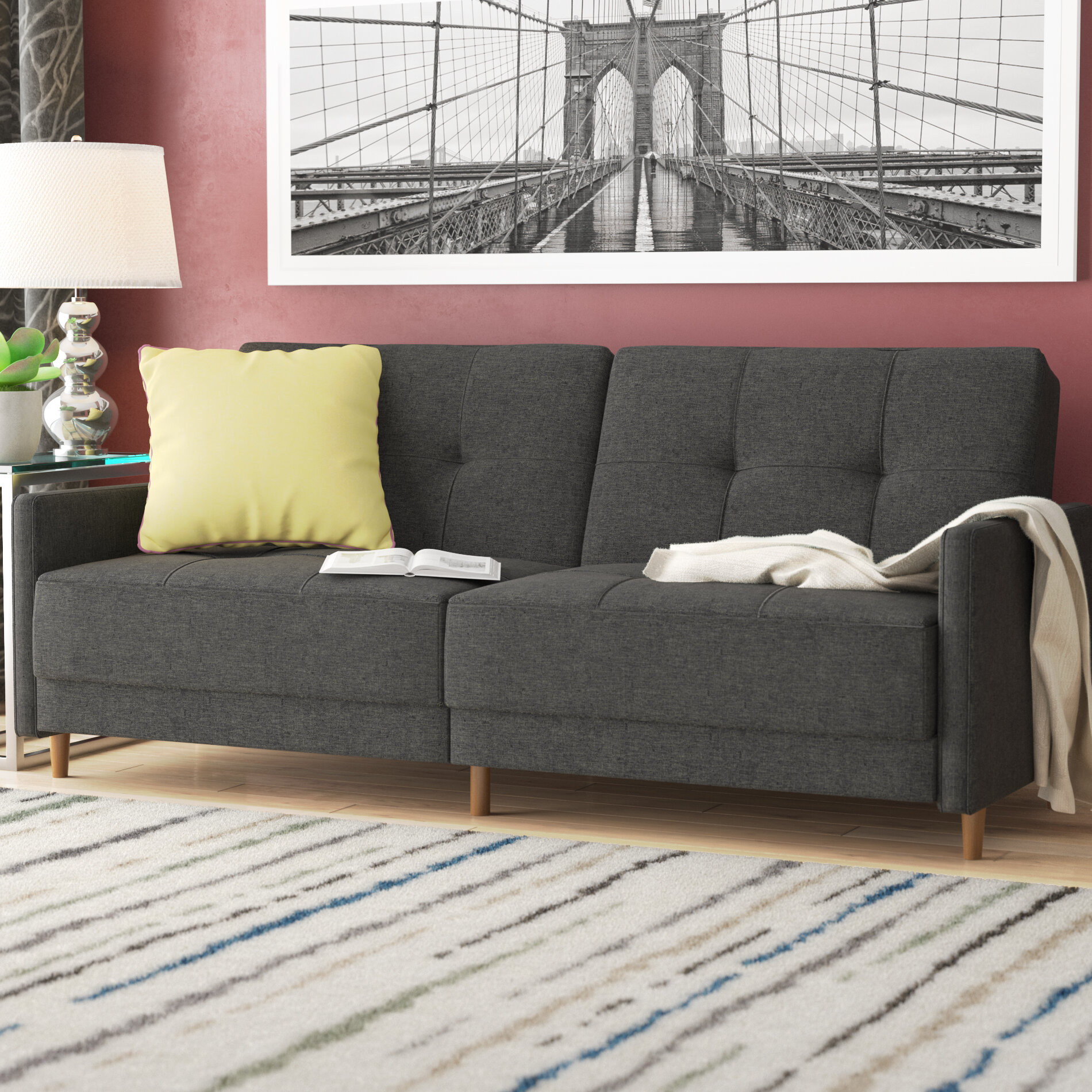 Zipcode Design Geraldton Linen Convertible Sofa U0026 Reviews | Wayfair