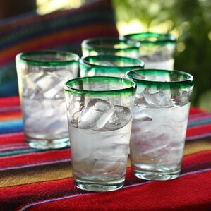 set of 6 artisan crafted ecofriendly 15 oz hand blown mexican sustainable