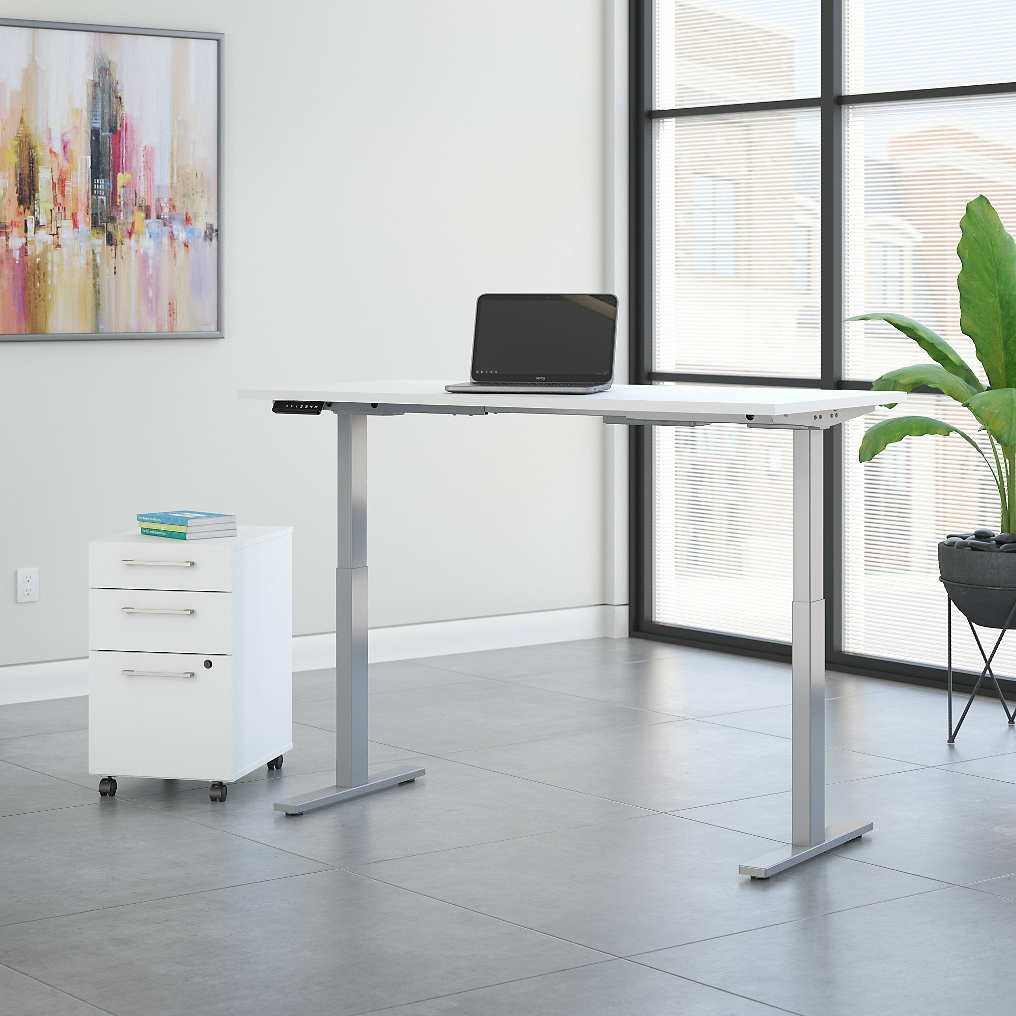 Bush Business Furniture Move 60 Series Height Adjustable Standing Desk With  Storage U0026 Reviews | Wayfair