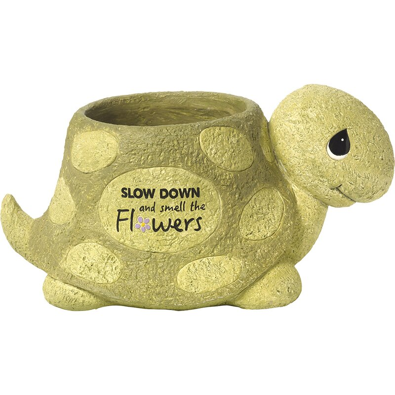 Slow Down And Smell The Flowers Turtle Deck And Garden Yard Decor Resin  Statue Planter
