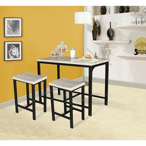 Mira 3 Piece Counter Height Dining Set by A&J Homes Studio