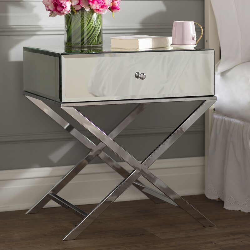 Chrome Desidério End Table With Storage by Willa Arlo Interiors