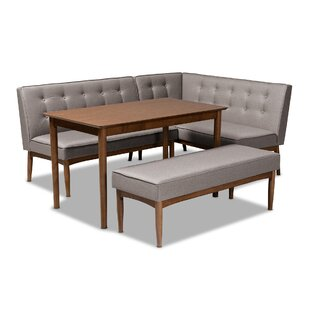 Bopp Mid-Century Modern Upholstered 4 Piece Breakfast Nook Dining Set