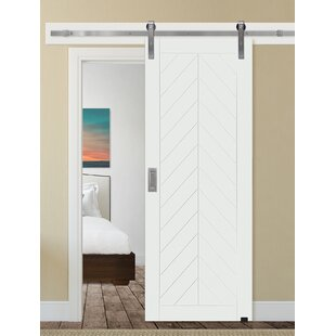 Paneled Manufactured Wood Primed Chevron Barn Door Without Installation Hardware Kit
