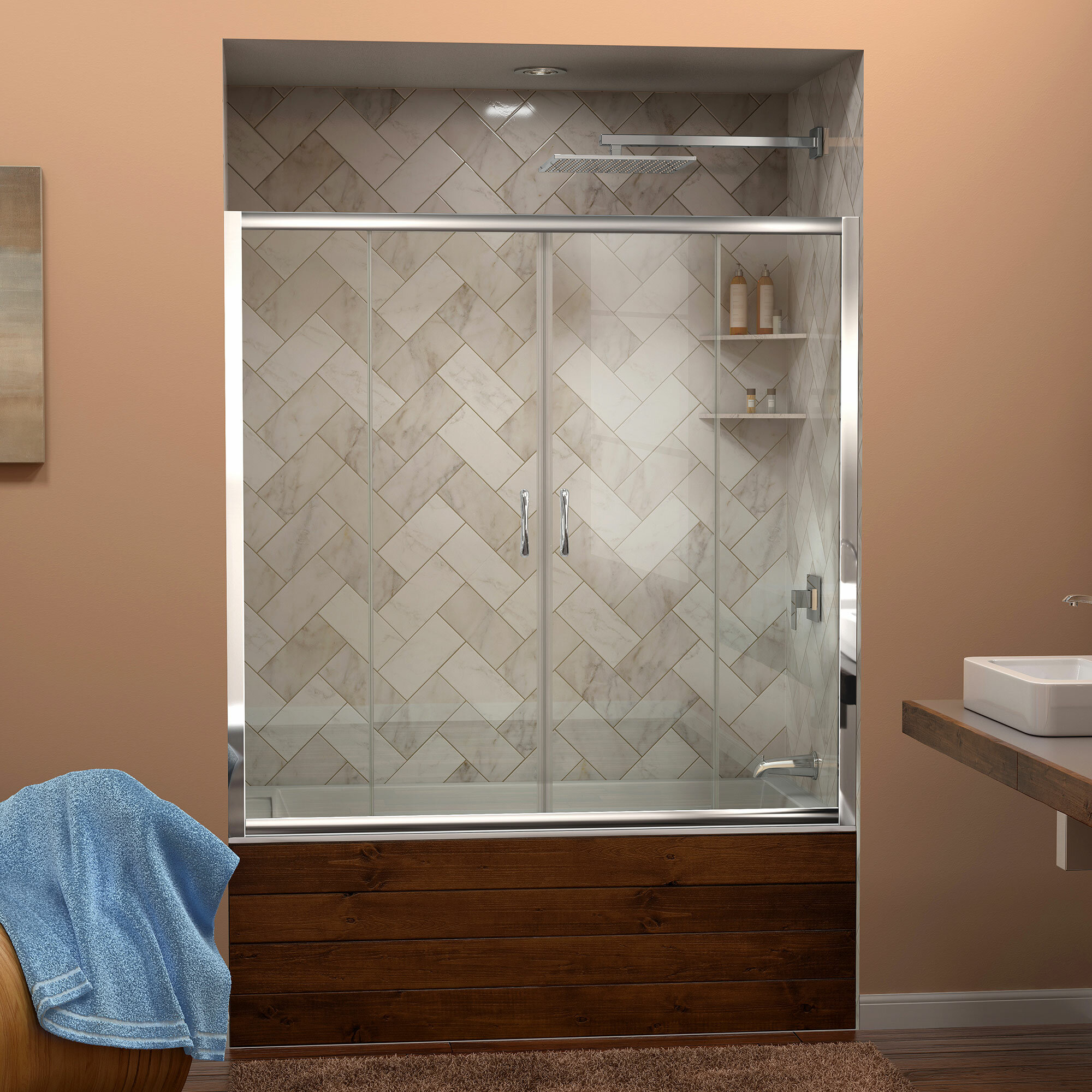 Dreamline Visions 60 X 58 Double Sliding Frameless Tub Door