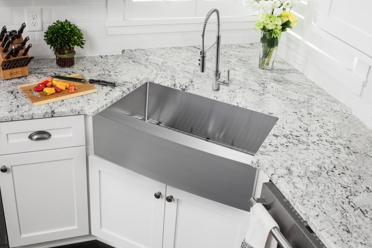 36   x 20 75   apron front single bowl undermount stainless steel kitchen sink with faucet soleil 36   x 20 75   apron front single bowl undermount stainless      rh   wayfair com