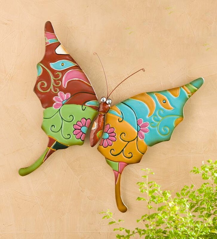 Plow & Hearth Metal Talavera-Inspired Butterfly Wall Decor & Reviews ...