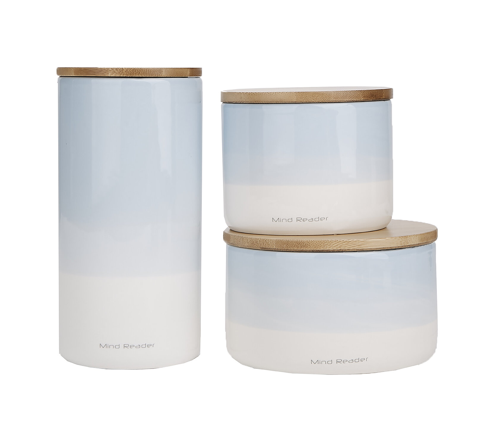 Mind Reader Small Medium Large Ceramic Canister 3 Pc Set With Lids Round Sets Food Storage Jar Container Blue Wayfair