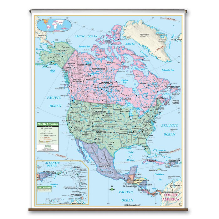 Map69.Laminated Primary Wall Map 69 X 54
