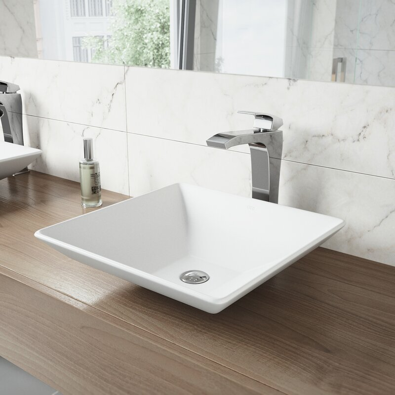 Vigo Matte Stone Square Vessel Bathroom Sink With Faucet