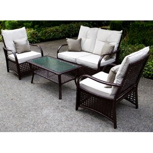 Clubhouse 4 Piece Sofa Set with Cushions